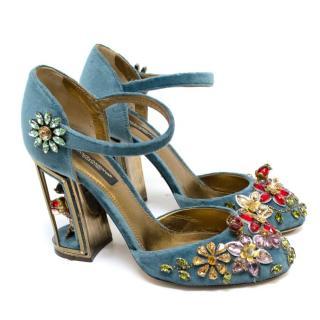 Dolce & Gabbana Teal Embellished Velvet Cage-Heel Pumps