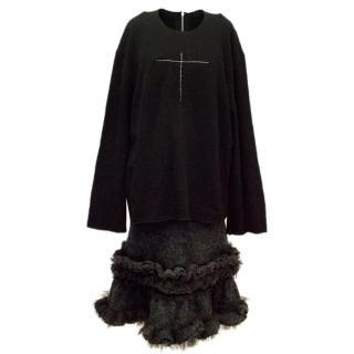 Commes des Garcon Black Wool Sweater Dress