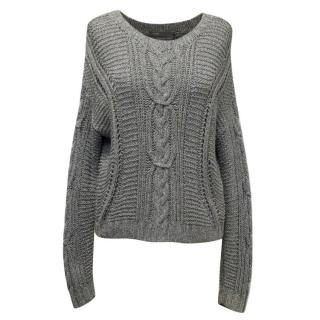 Vince Grey Round Neck Hand Knitted Sweater
