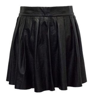 Alice & Olivia Black Leather Pleated Mini Skirt