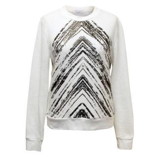 Sandro White And Black Sweater