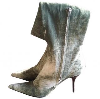 Roberto Cavalli Khaki Suede Boots