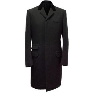 Alexander McQueen Wool Blend Coat With Velvet Detail Collar