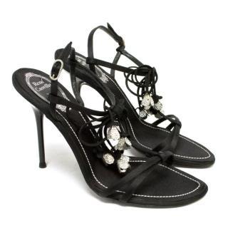 Rene Caovilla Black Embellished String Bow Sandals