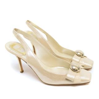 Dior Metallic Beige Slingback Squaretoe Pumps With Gold Heel
