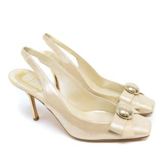 Dior Metallic Beige Slingback Squaretoe Pumps With Gold Heel