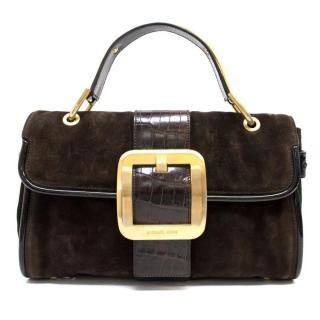 Michael Kors Brown Suede Handbag With Gold Hardware