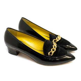Charlotte Olympia Black 'Francis' Pointed Loafers With Faux Fur