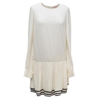 See By Chloe Cream Long Sleeved Drop Waist Dress