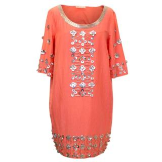 Matthew Williamson Orange Embellished Short Kaftan