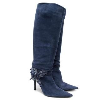 Sergio Rossi Blue Knee High Boots