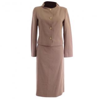 Jil Sander Tan Wool 2 Pieces Jacket Skirt Suit