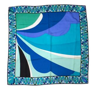 Emilio Pucci Blue Print Silk Scarf