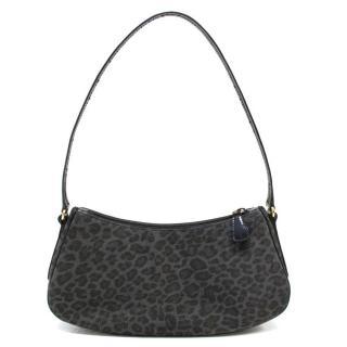 Escada Dark Grey Leopard Print Small Shoulder Bag