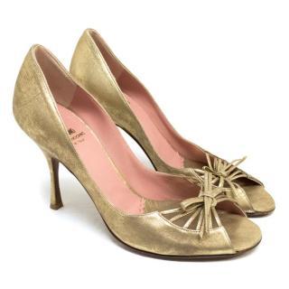 Moschino Metallic Gold Peep Toe Pumps