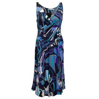 Emilio Pucci Sleeveless Blue Print Dress