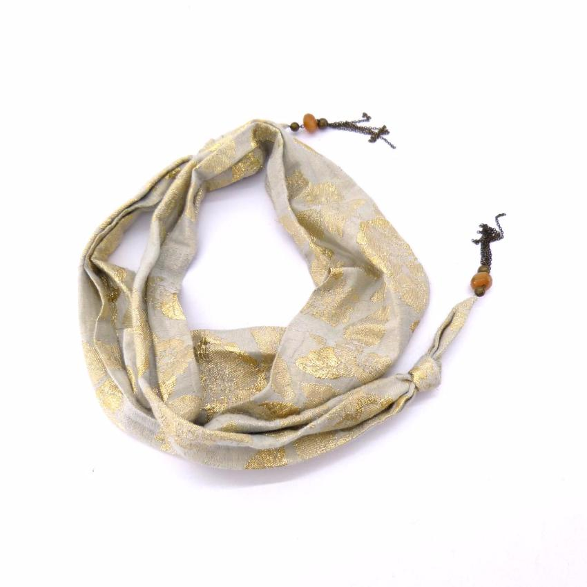 ISABEL MARANT beige jeweled scarf with gold metal embroidered