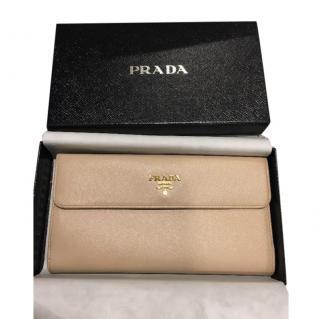 Prada Saffiano Long Flap Wallet Nude Pink