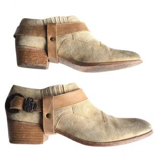 Swildens  low boots cowboy style with strap
