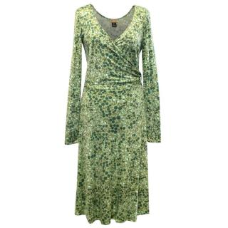 Issa Green Cherry Print Long Sleeve Silk Wrap Dress