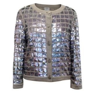 Chanel Sequined Cashmere Grey Cardigan