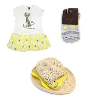 Catimini Yellow Dress, Hat And Socks Set