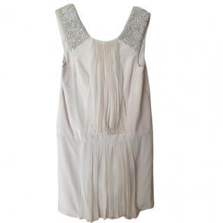 Tibi Cream Silk Chiffon Embellished Dress