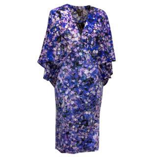 Roberto Cavalli Purple Floral Kaftan Tunic
