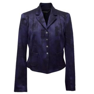 Elie Tahari Blue Brushed 'Roni' Jacket With Press Stud Fastening