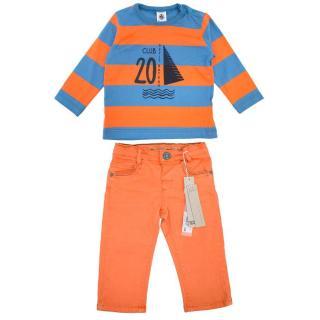 Petit Bateau Long Sleeve Top & Ikks Orange Jeans