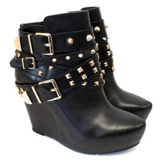 BCBG Aspen Triple Strap Buckle Studded Boots