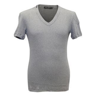 Dolce and Gabbana Mens Grey Ribbed T-Shirt