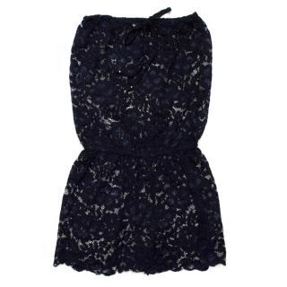 Syma Navy Lace Strapless Playsuit