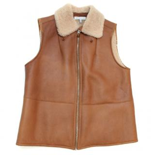 See by Chloe Brown Leather Gilet with shearling lining