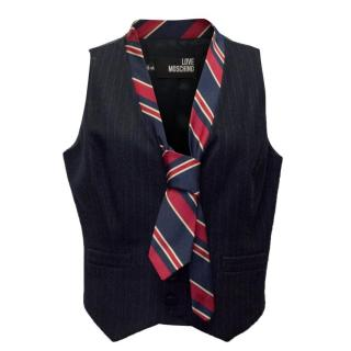 Love Moschino Wool Waistcoat With Oxford Tie Detail
