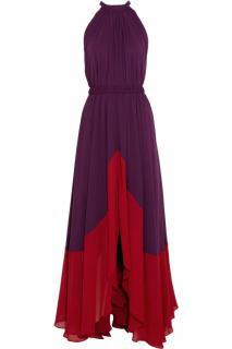 Saloni Iris pleated chifon maxi dress