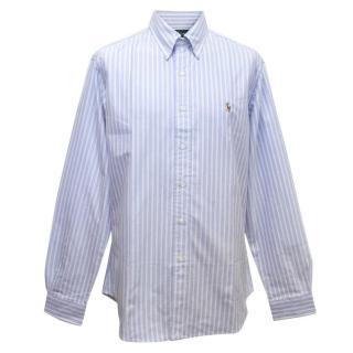 Ralph Lauren Men's Blue Striped Cotton Long Sleeved Shirt