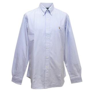 Ralph Lauren Men's Blue Striped Cotton Long Sleeved Shirt