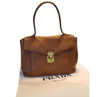 MIU MIU vita daino calf leather tan tote shoulder bag
