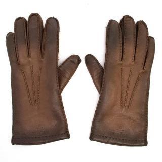 Prada Ladies Brown Leather Gloves