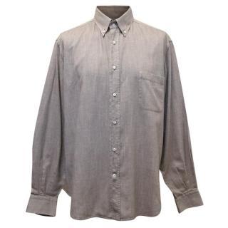 Loro Piana Brown Cotton Shirt With Button Down Collar