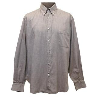 Loro Piana Brown Cotton Shirt With Button Down Collar