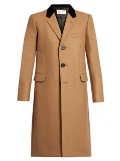 Saint Laurent Velvet-collar camel hair-blend men's overcoat