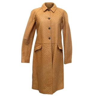 Prada Brown Ostrich Skin Long Coat
