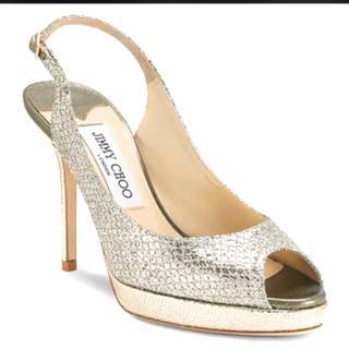 Jimmy Choo Nova Champagne Glitter Fabric Platform Sandals