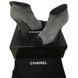 Chanel Grey & Black suede ankle boots