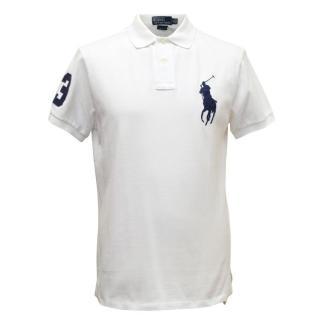 Ralph Lauren White Polo Shirt With Blue Logo