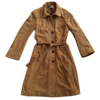 Natan Collection belted suede trench coat