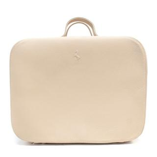 Ferrari Beige Leather Luggage Square Travel Bag