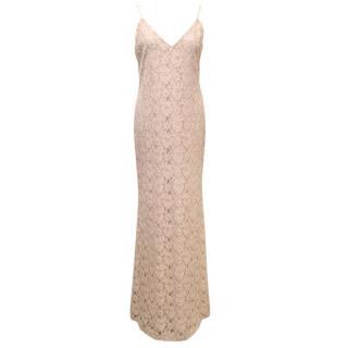 Alice & Olivia Blush Pink Lace Maxi Dress